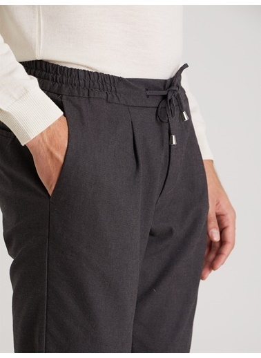 Dufy Antrasıt Nokta Desen Erkek Pantolon - Slım Fıt Antrasit